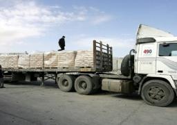 """إسرائيل تسمح بادخال 400 شاحنة بضائع لغزة عبر """"كرم أبو سالم"""""""