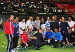 بالصور.. مباراة كرة قدم لـ 3 وزراء بالحقيبة الاقتصادية