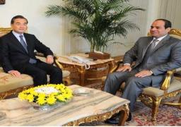 """وزير خارجية الصين يدعو السيسي لزيارة بلاده.. والرئيس: تنمية """"قناة السويس"""" يتوافق مع طريق الحرير"""
