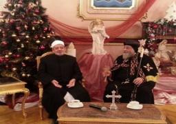شيخ الأزهر يهنيء البابا تواضروس الثاني بعيد الميلاد في الكاتدرائية