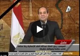 كلمة الرئيس عبد الفتاح السيسى فى الذكرى الرابعة لثورة 25 يناير ونعي وفاة الملك عبد الله بن عبد العزيز