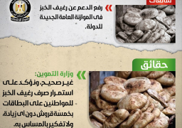 الحكومة: لا مساس برغيف الخبز واستمرار صرفه على البطافات بـ 5 قروش