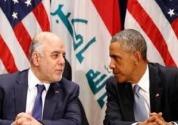 أوباما يبحث هاتفيا مع العبادى الوضع الأمنى والسياسى فى العراق