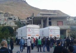 """قافلات الإغاثة تبدأ في التحرك لـ""""مضايا"""" المحاصرة بريف دمشق"""
