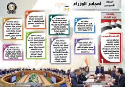 بالإنفو جراف… الحصاد الأسبوعي لمجلس الوزراء من 14 حتى 20 فبراير 2020