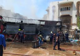 السيطرة على حريق ب3 أكشاك لبيع المواد الغذائية بجوار مسجد الفتح برمسيس