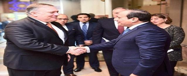 الرئيس عبد الفتاح السيسي يستقبل  مايك بومبيو وزير خارجية الولايات المتحدة الأمريكية