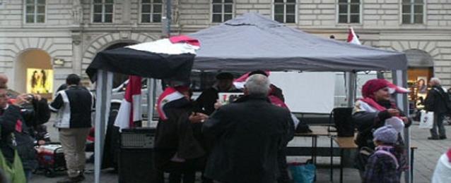 مصريون في النمسا يتظاهرون أمام السفارة دعما للاستقرار