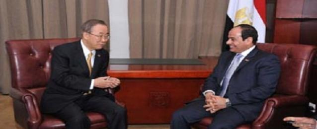 الرئيس عبد الفتاح السيسي يلتقي بان كى مون ورئيس تنزانيا