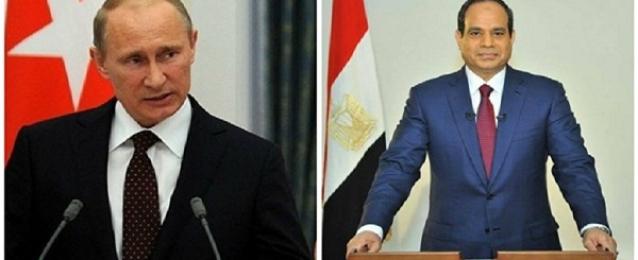 بوتين لـ السيسي :فوزكم الباهر يدل على مكانتكم الرفيعة في مصر