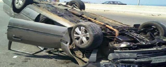 مصرع شخص وإصابة 3 فى انقلاب سيارة على الطريق السريع بالبحيرة