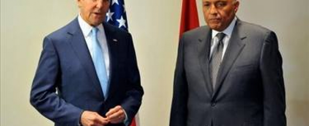 شكرى يبحث مع جون كيرى العلاقات الثنائية والقضية الفلسطينية وقضية الارهاب