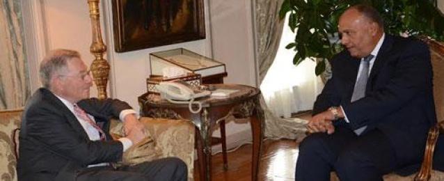 """شكري يستقبل """"روبرت سري"""" ويشدد على أهمية استئناف مفاوضات السلام الإسرائيلية الفلسطينية"""