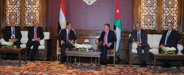 السيسي وعبد الله يؤكدان اعتزازهما بالمستوى المتميز للعلاقات المصرية الأردنية