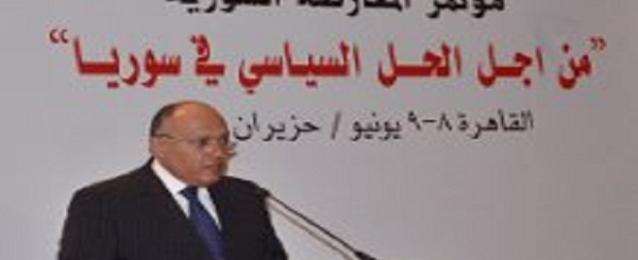 شكرى: المجتمع الدولى لم ينجح فى التوافق حول صيغة تنفيذية للتسوية بسوريا